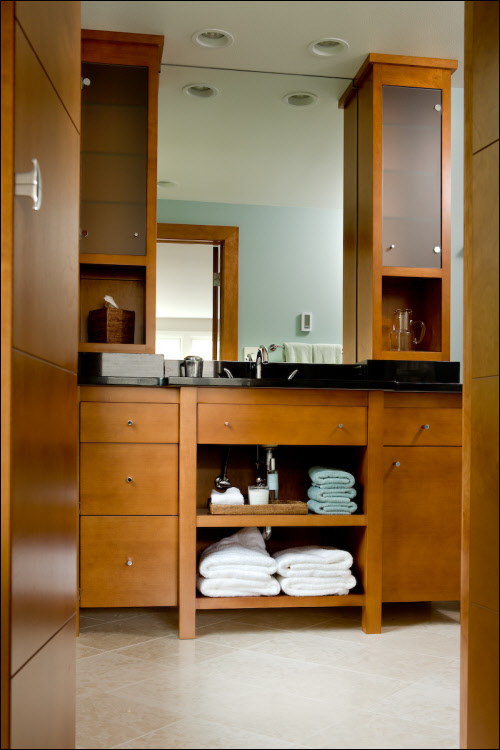 Vanity With Two Tower Cabinets